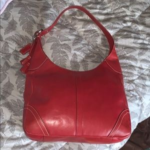 Vintage Coach red leather hobo